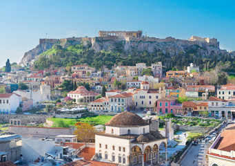 Fotorolgordijn Athene Skyline of Athenth with Moanstiraki and Acropolis hill, Athens Greece