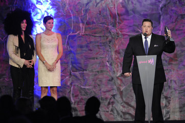 Chaz Bono speaks after being presented the Stephen F. Kolzak Award by Mary Bono Mack and Cher at the GLAAD Media Awards in Los Angeles