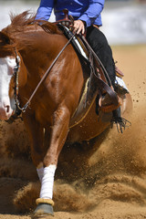 The close-up view of a rider in cowboy chaps and boots sliding the horse in the sand