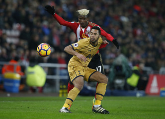 Tottenham's Mousa Dembele in action with Sunderland's Didier Ndong