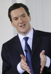 Britain's Chancellor of the Exchequer Osborne delivers a speech during an election campaign event in London