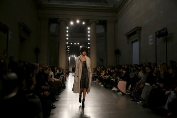 A model presents a creation at the Topshop Unique catwalk show at London Fashion Week Autumn/Winter 2016 in London, Britain
