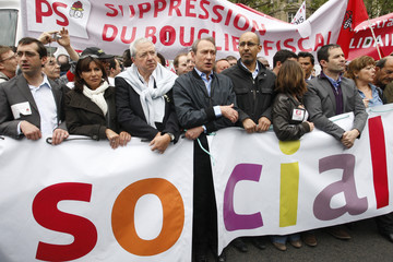 French Socialist party members attend the annual May Day march in Paris