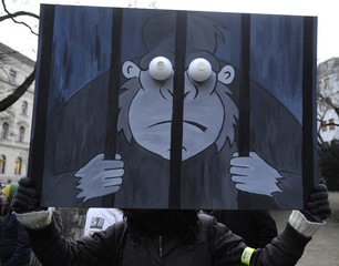 A protester holds up a picture depicting a gorilla in jail during a protest rally at SNP Square in Bratislava