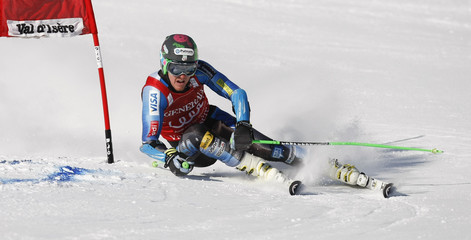 Ligety of the US skis during the first leg in the Men's World Cup Slalom skiing race in Val d'Isere