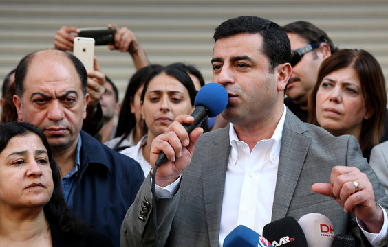Selahattin Demirtas talks during a gathering to protest against the arrest of the city's two joint mayors on terrorism charges in Diyarbakir