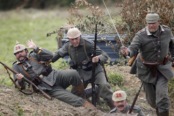 History enthusiasts attend the re-enactment of the First Battle of the Marne, which took place a century ago, at Chauconin-Neufmontiers, Eastern Paris