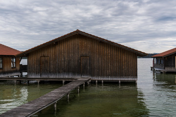 boatshouse with stillt in the water