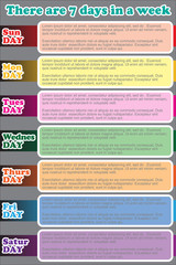 There are 7days in a week. One week plan infographics set elements. Vector and illustration, EPS 10.