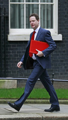 Britain's Deputy Prime Minister Clegg arrives to attend a a National Security Council meeting in Downing Street, London