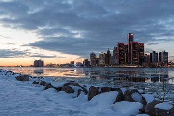 Detroit Skyline am Abend