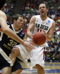 San Diego State Aztecs guard James Rahon reacts after getting fouled by Northern Colorado Bears guard Devon Beitzel during the second half of the second round NCAA tournament basketball game in Tucson.