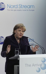 German Chancellor Merkel delivers speech in Lubmin