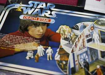 A vintage Star Wars play set waits to be sold ahead of an auction of Star Wars and film related toys at the Vectis auction house in Stockton-on-Tees