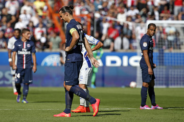 Paris St Germain's Zlatan Ibrahimovic leaves the field during his French Ligue 1 soccer match against Bastia at the Parc des Princes Stadium in Paris