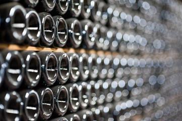Champagne bottles being kept for secondary fermentation in underground cellar in Abrau-Durso, Novorossiysk
