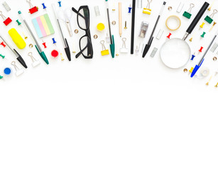School and office stationery at table. Top view with copy space.