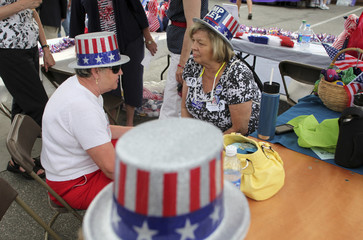Mary Lou Pennett of Surfside Beach, S.C. and Mary Max Neely of Myrtle Beach, talk under the Democratic Women of Horry County tent at The Galivant Ferry Stump Speaking in Galivants Ferry
