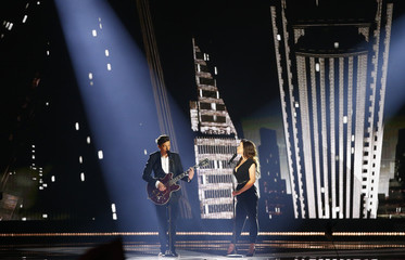 """Singers Born and Rasta of Estonia perform the song """"Goodbye To Yesterday"""" during the final of the 60th annual Eurovision Song Contest in Vienna"""
