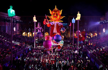 The float of the King of Carnival is paraded through the crowd during the 133rd Nice Carnival parade, the first major event since the city was attacked during Bastille Day celebrations last year in Nice