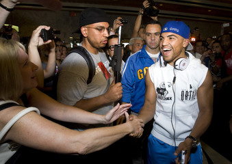 WBC welterweight champion Victor Ortiz of the U.S. greets fans during official arrivals at the MGM Grand hotel-casino in Las Vegas