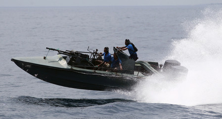 Sri Lankan military boat takes part in a joint Indo-Lanka naval exercise at Trincomalee navy base