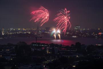 Firework Panorama Hamburg