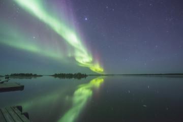Tuinposter Noorderlicht Lake reflex Aurora