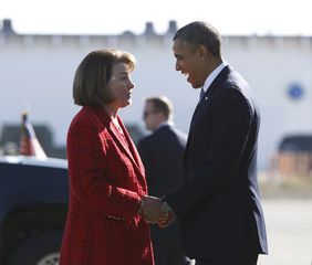 U.S. President Barack Obama is greeted by U.S. Senator Diane Feinstein upon his arrival in San Francsico
