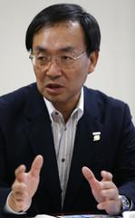 Panasonic Corp's new president Kazuhiro Tsuga speaks at an interview in Tokyo