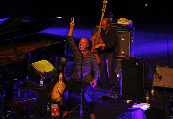 Vocalist Dhafer Youssef performs with double bassist Chris Jennings during the 10th Dimajazz festival in Constantine