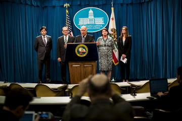 California Governor Jerry Brown speaks during a news conference at the State Capitol in Sacramento