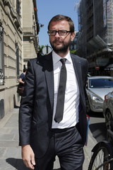 UMP party member Jerome Lavrilleux arrives at the offices of former French President Nicolas Sarkozy in Paris