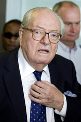 French Far-Right Front National founder Jean-Marie Le Pen leaves the courthouse in Nanterre, near Paris