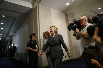 Democratic U.S. presidential candidate Clinton arrives for House Democratic Caucus meeting on Capitol Hill in Washington