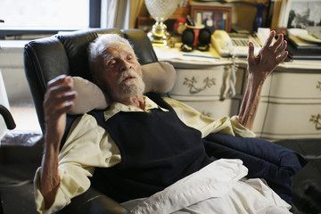 111-year-old Alexander Imich the world's oldest living man speaks during an interview with Reuters at his home in New York City
