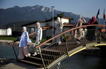 Tourists walk through Sarajevo Resort in Osenik near Sarajevo