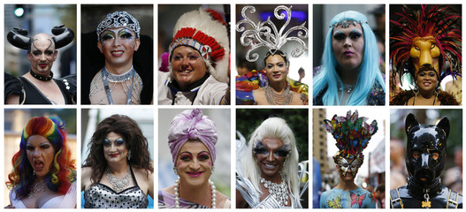 Combination photo of participants showing off their elaborate head costumes and wigs before the start of the 2014 Sydney Gay and Lesbian Mardi Gras