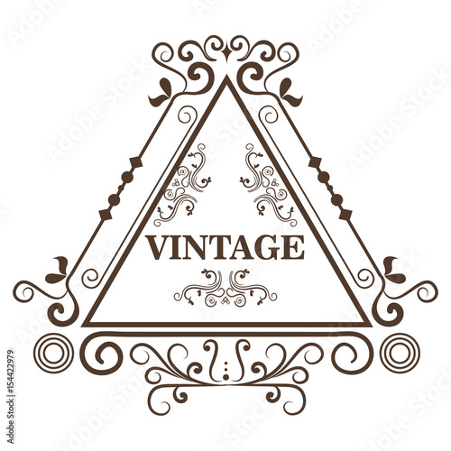Ornamental triangle shaped frame and vintage sign over white ...
