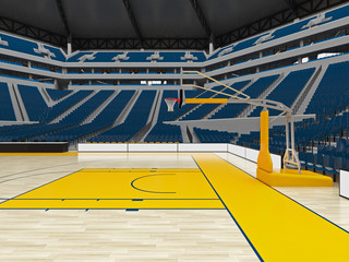 Beautiful modern sport arena for basketball with floodlights blue chairs and VIP boxes  for twenty thousand people