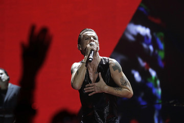 "Lead vocalist Dave Gahan of British band Depeche Mode performs during their ""Welcome to My World"" tour in Riga"