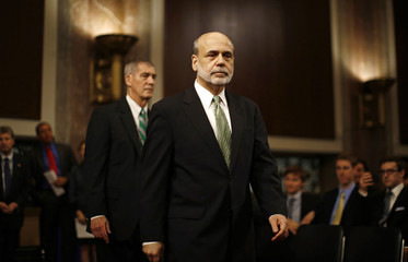U.S. Federal Reserve Chairman Bernanke arrives at a Joint Economic Committee hearing on economic outlook and policy in Washington