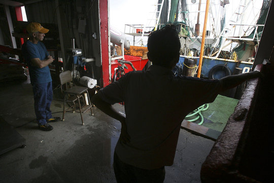 Shrimp farmers sit idle at Dean Blanchard Seafood in Grand Isle