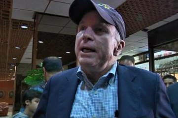 U.S. Senator John McCain is seen in Benghazi