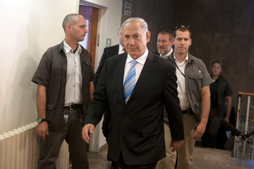 Israel's Prime Minister Netanyahu arrives at the weekly cabinet meeting in Jerusalem