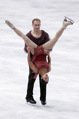 Evora and Ladwig of the US perform during the pairs free skating program in the Bompard Trophy event at Bercy in Paris