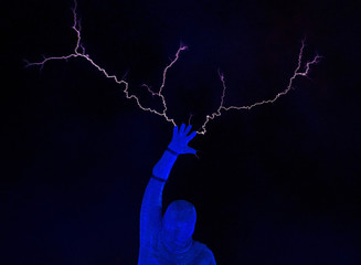 A Lord of Lightning performs during the Arcadia laser and pyrotechnics show in Bristol