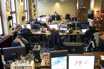 Coders work in the Mojang company office in Stockholm