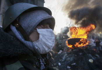 Anti-government protester sits at an open fire site at a barricade near Independence Square in Kiev