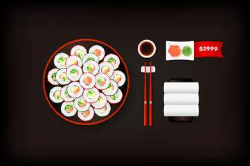 Sushi Plate With Set Of Different Rolls. Vector Food Design Element. Menu Template